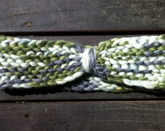 Nordic chunky wool green headband