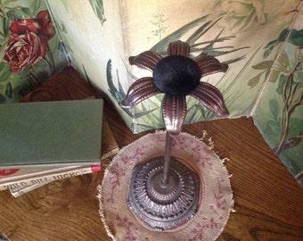 Victorian Hat Stand Metal Flower with Velvet Center Paris Fashion Hat 1800's Rare Wig Stand