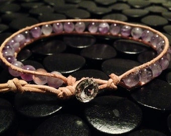 Natural leather wrap bracelet with amethyst beads