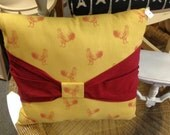 "Cotton/Chenille Rooster pillow. 18"" x 20. Handmade."