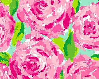 Lilly Pulitzer fabric 9 X 18 or 18 X 18 inches Hotty Pink First Impression