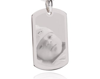 Photo Engraved QR Code Jewerly Pendant- Rectangle Silver