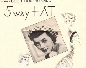 Good Housekeeping Leaflet GHN 449 Cheeky 5 Way Hat / 1940's
