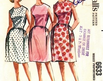 McCall's 6633 Dynamite Bell Skirted Dress 1962 / SZ12 UNCUT