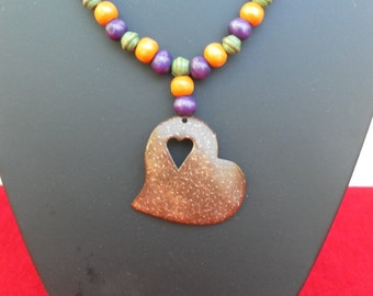 Wood with Heart Necklace