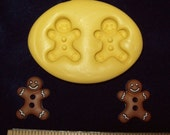Gingerbread Man Buttons - 2 Cavity Flexible Silicone Mold for Polymer Clay, Resin, Food, Soaps, etc.