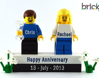 LEGO® engraved Minifigures + bricks Anniversary wedding