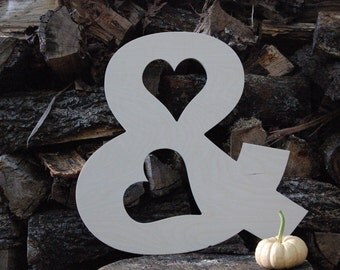 "Unfinished 18 inch wooden symbol--wood romantic ampersand--Arial font--1/2"" thick Baltic birch--engagement, wedding, photo prop--hearts--18"""