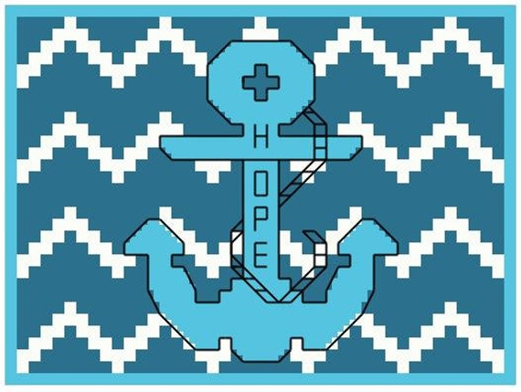 Hope Anchor Chevron Background Cross-Stitch Pattern