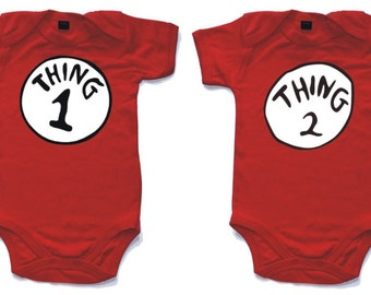 Thing 1 and Thing 2 red babygrow very cute for twins. Babygro baby suit vest onesie in sizes from 0 to 18 months