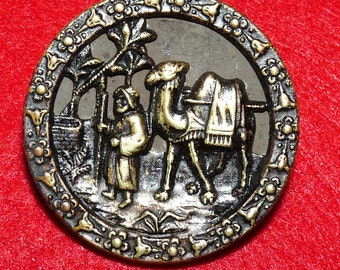 """Beautiful Brass Picture or Story Button of """"Eliezer at the Well"""""""