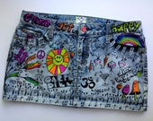 """hand painted, recycled denim mini skirt by artfink. """"Carpe Diem"""". Exclusive, one-of a-kind wearable work of art!"""