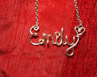 Name Necklaces,Emily necklace,Personalized wedding jewelery,Birthday gift,Bridesmaid necklace,Custom Name necklace