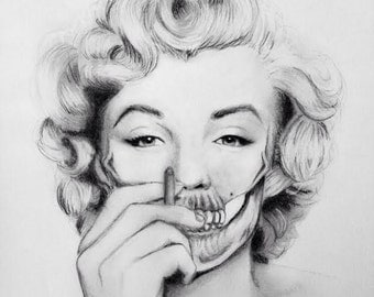 Original Marilyn Monroe skull drawing 10x8