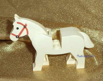 Sale Vintage Lego White Horse Pony Minifigure Collectible or for Customization OOAK Repaint - Artisan Art Doll Toy Figure Supplies
