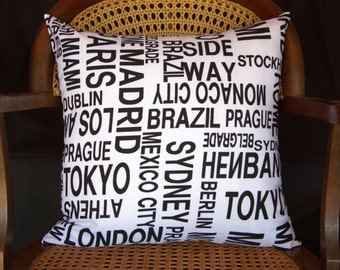 World Cities Pillow Cushion. Only Cover