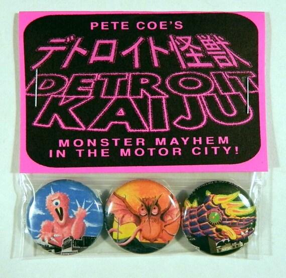 "Pete Coe's Detroit Kaiju 1"" Pinback Button Set of 3 Monsters: Cotton Candy Monster (Mushiba), Flying Thing (Měngqín), Neon Menace (Kaijulia)"