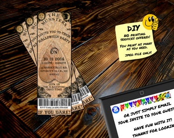 OUIJA BOARD HALLOWEEN Ticket Invitation, Printable Invite, Emailable Invite (Evite) Cool for any type of Party!!!