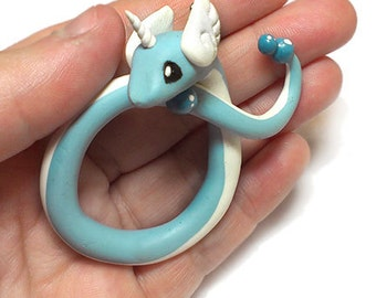 Hand Sculpted Dragonair Pokemon Pendant