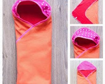Soft and warm hooded babyblanket - Orange Red Neonpink +++