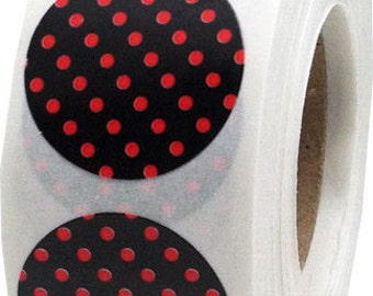 Black Stickers with Red Polka Dots - 0.75 Inch Round | 500 Labels