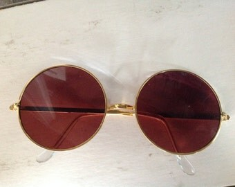 True Vintage MOD Hippie Sunglasses Gold Metal Frame Amethyst Glass Lenses Japan NOS Lennon 7850