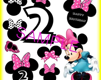 Digital Download Minnie Mouse 2nd Birthday Cut outs Print Yourself Mickey Minnie Party Supplies
