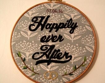 Wedding custom embroidery hoop art