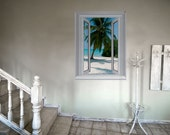 JP London Blue Waters Window Wall Mural Peel and Stick or Removable Paper at 4 ft high by 3 ft wide AMD7014/AMDPS7014