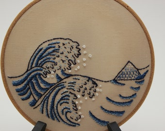 Embroidery Hoop Art. Modern Version of the Great Wave Off Kanagawa Embroidery. Ready to Ship!