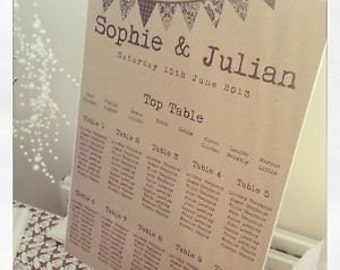 1 x Vintage/Rustic/Shabby Chic Manilla Bunting A3 Wedding Table Seating Plan