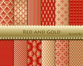 "Red and Gold Christmas Digital Paper: ""Red and Gold Patterns "" metallic gold digital papers for invitations, scrapbooking, cardmaking"