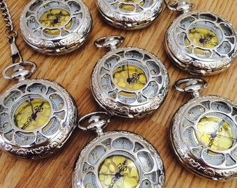 Groomsmen Silver Pocket Watch Set of 7 with chains Wedding Gifts