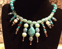 Terrific Turquoise-Safety Pin and Bead Necklace