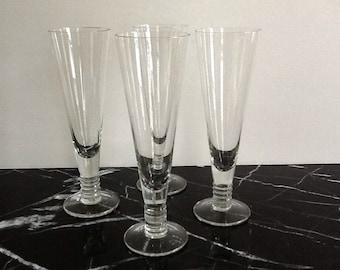 Crystal Pilsner Glasses, Set of 4, Crystal Beer Glasses, 14 Fluid Ounces, Crystal Barware, Larger Glasses