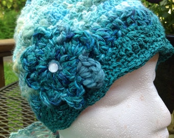 Bamboo Bloom Crocheted Hat with Flower