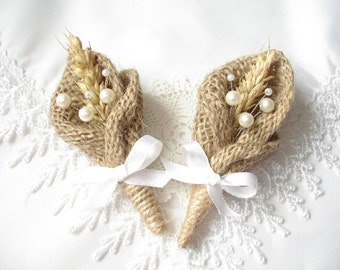Set for 7 Burlap Boutonniere for Groom, Wedding Rustic  Boutonniere,  Boutonniere with white pearls