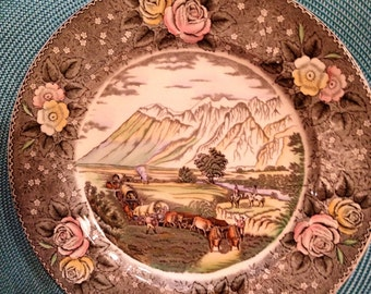 Adams china Currier & Ives plate made in England