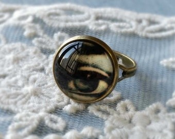 "1 Piece of 14 mm "" Mystery Eye ""Pattern Antiqued Bronze Fingerring  (.cm)"
