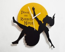 Alice in Wonderland Down the Rabbit Hole - Black & Yellow Silhouette - Wall Clock