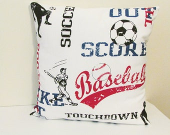 Decorative Pillow Cover, Sports  Pillow Cover, Red and Blue Sports Pillow Cover