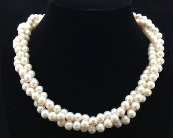 Twisted Triple strand Pearl Necklace,AA+ Multi Strand Genuine Pearl Necklace,Freshwater Pearl Necklace
