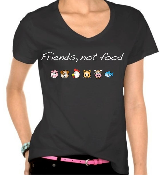 Vegan t-shirt designs: friends not food emoji