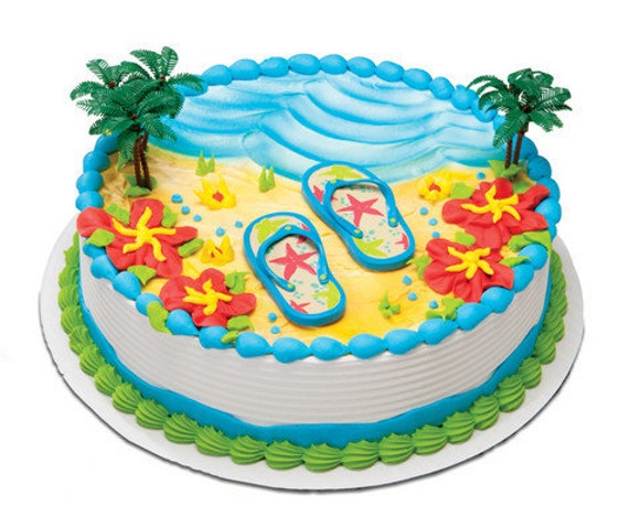 Cake Decorating Ideas Summer : Flip Flop Magnets Cake Decorating Kit Topper Decoration Luau