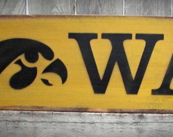 Iowa Hawkeye Wood Sign with Tigerhawk - Father's Day Gift, College, Christmas - Man Cave Decor