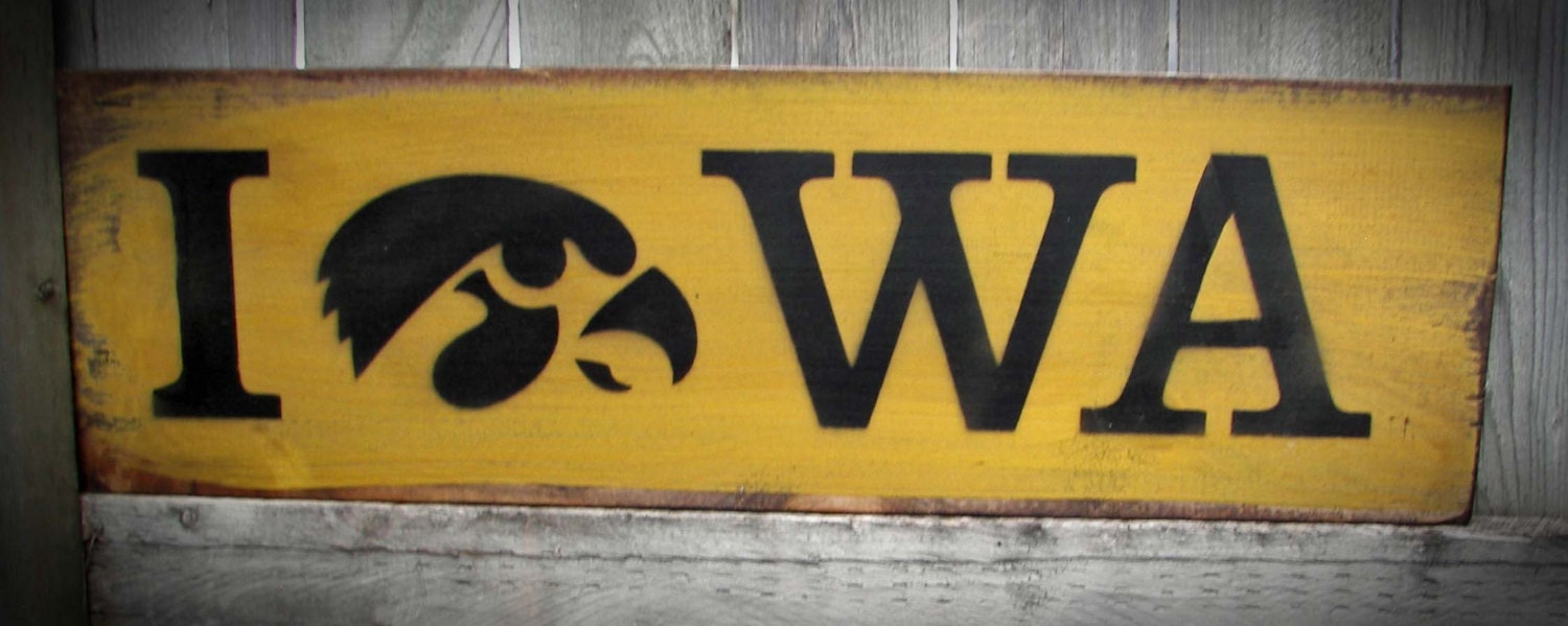 Iowa hawkeye wood sign with tigerhawk father 39 s day gift for Iowa hawkeye decor
