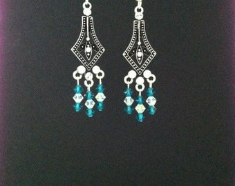 Blue Zircon & Clear Swarovski Crystal Earrings