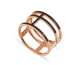Trio Ring with Black Spinels - Rose gold plated