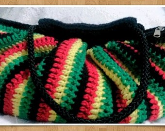 Flat bottom Rastafari striped crochet bag