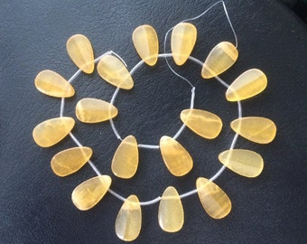 19 Large Honey Jade Flat Pear Briolette Beads